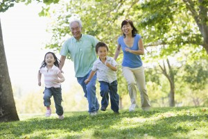 Grandparents running with grandchildren
